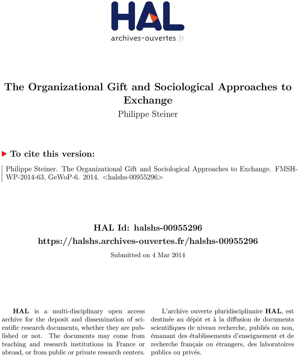 fr/halshs-00955296 Submitted on 4 Mar 2014 HAL is a multi-disciplinary open access archive for the deposit and dissemination of scientific research documents, whether they are published or not.