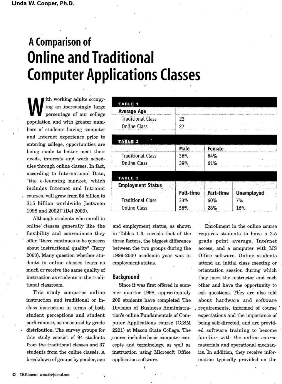 having computer and Internet experience prior to entering college, opportunities are being made to better meet their needs, interests and work schedules through online classes.