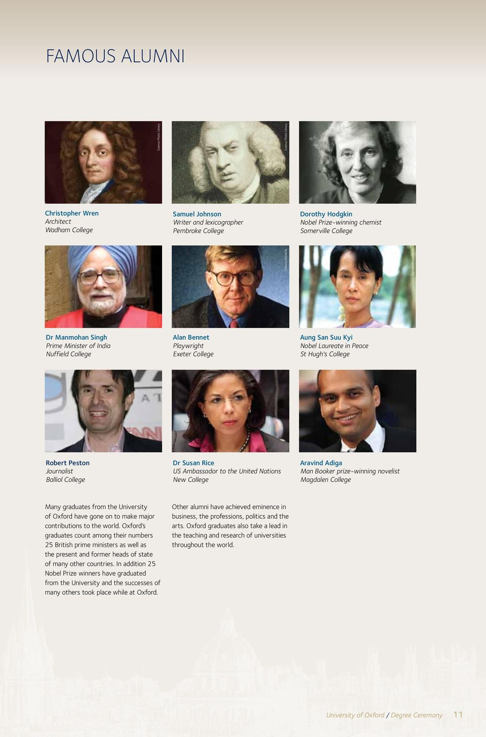 Peace St Hugh's College Robert Peston Journalist Balliol College Dr Susan Rice US Ambassador to the United Nations New College Aravind Adiga Man Booker prize-winning novelist Magdalen College Many