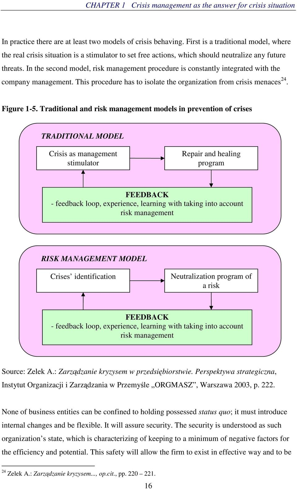 In the second model, risk management procedure is constantly integrated with the company management. This procedure has to isolate the organization from crisis menaces 24. Figure 1-5.