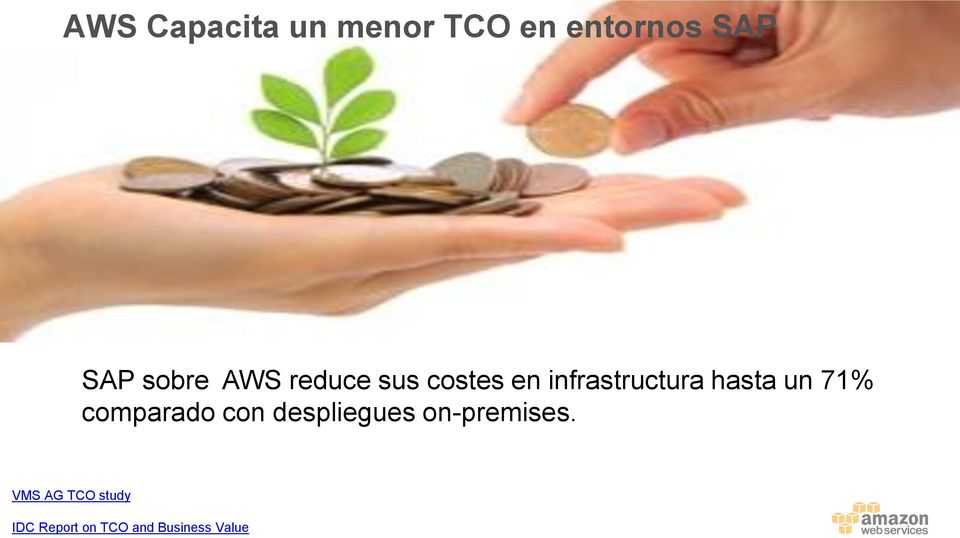 SAP All-in-One (on-premises) % Savings in overall TCO 16% 18% 15% 22% % Savings on items that AWS has an
