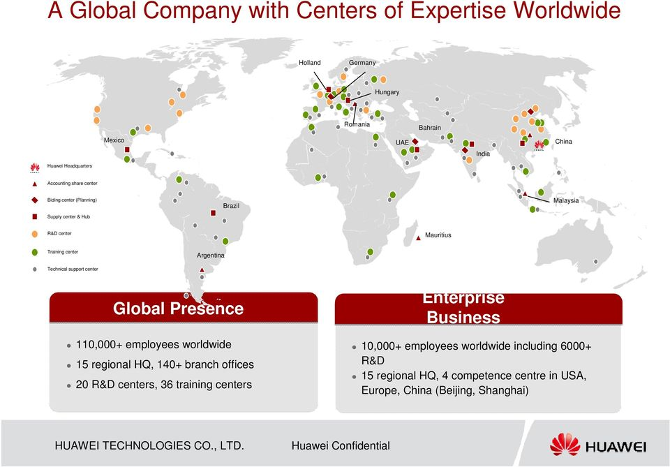 Technical support center Global Presence 110,000+ employees worldwide 15 regional HQ, 140+ branch offices 20 R&D centers, 36 training
