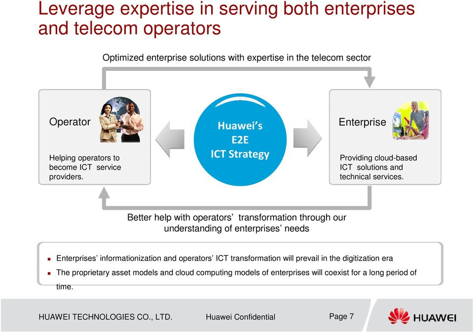 Better help with operators transformation through our understanding of enterprises needs Enterprises informationization and operators ICT