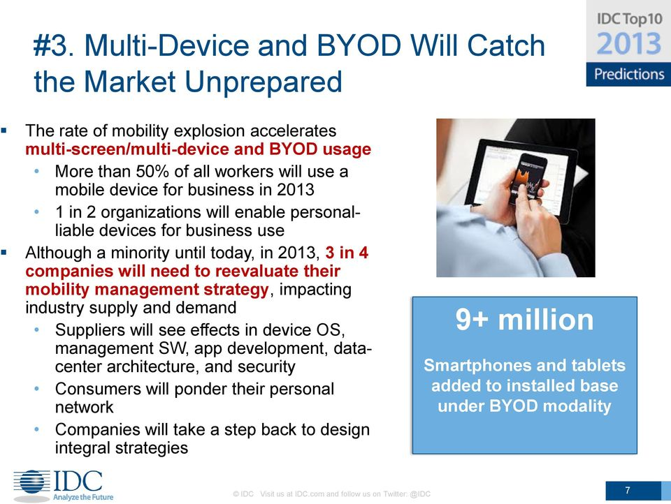 management strategy, impacting industry supply and demand Suppliers will see effects in device OS, management SW, app development, datacenter architecture, and security Consumers will ponder their