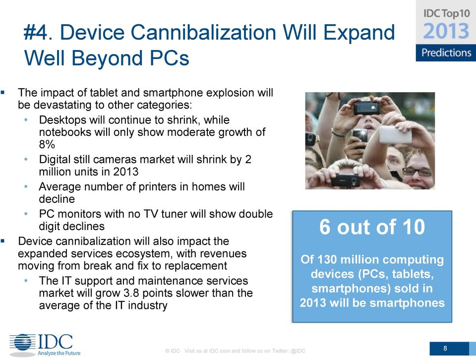 digit declines Device cannibalization will also impact the expanded services ecosystem, with revenues moving from break and fix to replacement The IT support and maintenance services market will grow