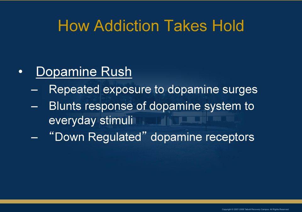 Blunts response of dopamine system to