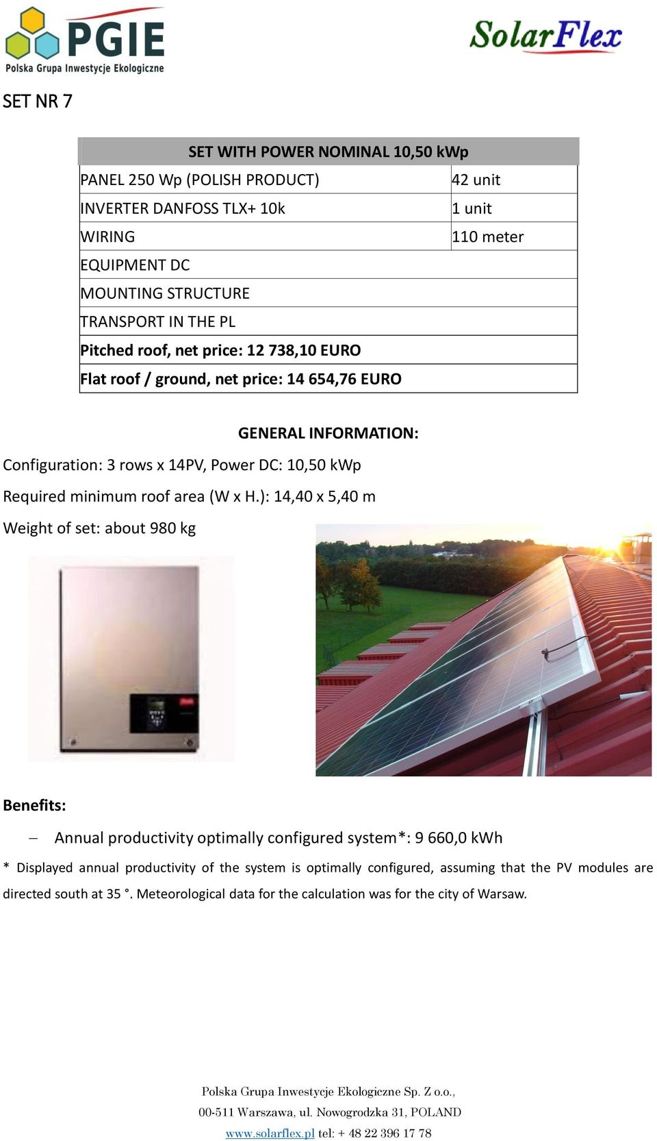 10,50 kwp Required minimum roof area (W x H.