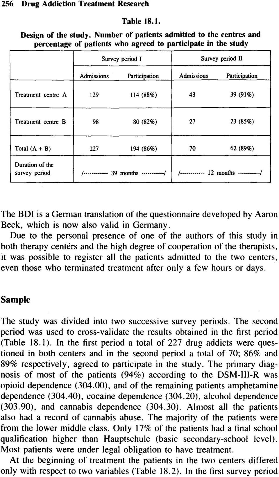 Treatment centre A 129 114 (88%) 43 39 (91%) Treatment centre B 98 80 (82%) 27 23 (85%) Total (A + B) 227 194 (86%) 70 62 (89%) Duration of the survey period 1------------ 39 months -----------1