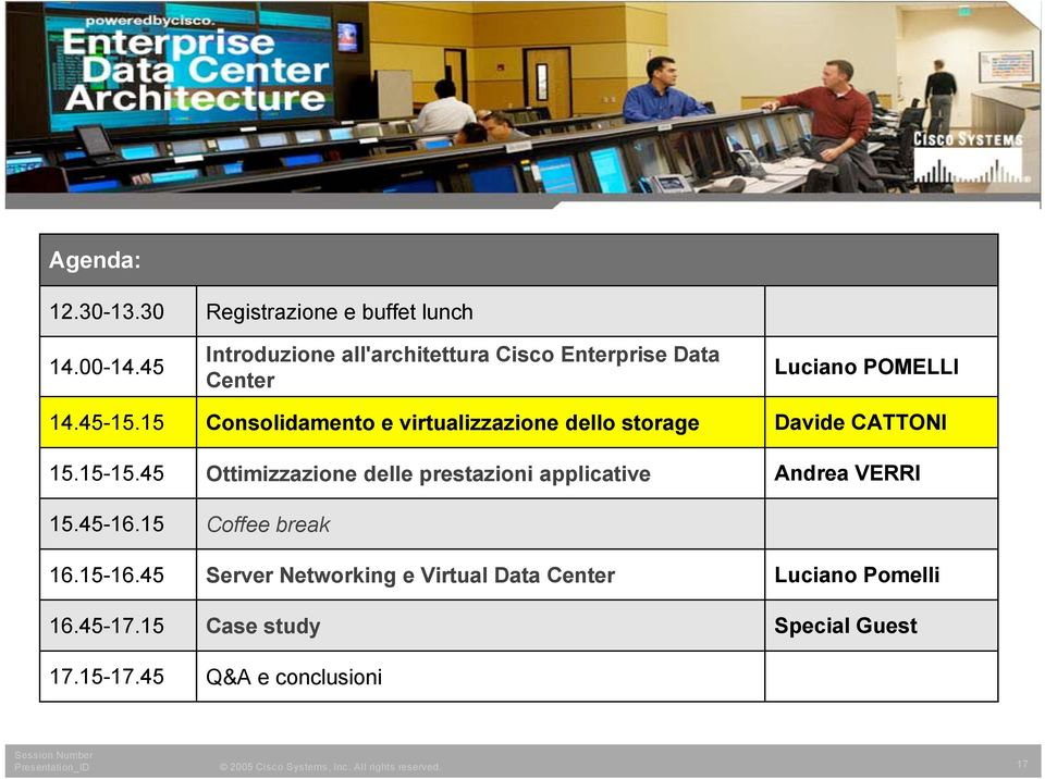 45 Registrazione e buffet lunch Introduzione all'architettura Cisco Enterprise Data Center Consolidamento e