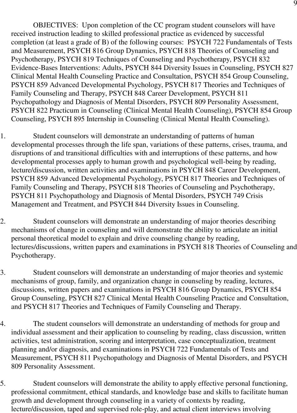 Psychotherapy, PSYCH 832 Evidence-Bases Interventions: Adults, PSYCH 844 Diversity Issues in Counseling, PSYCH 827 Clinical Mental Health Counseling Practice and Consultation, PSYCH 854 Group