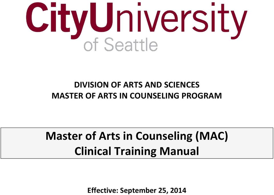of Arts in Counseling (MAC) Clinical