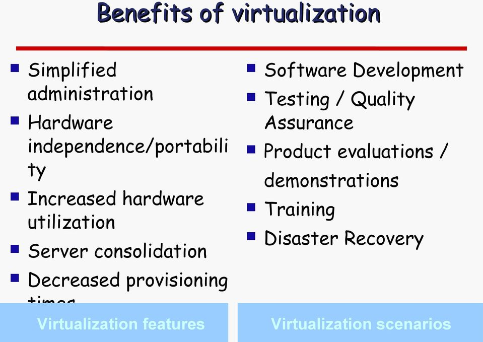 Virtualization features Improved security Software Development Testing / Quality
