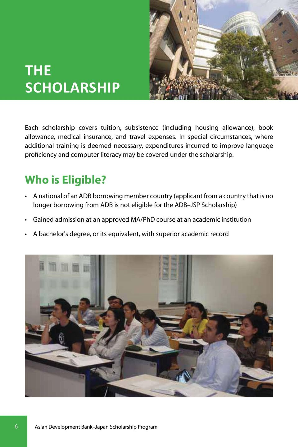 scholarship. Who is Eligible?