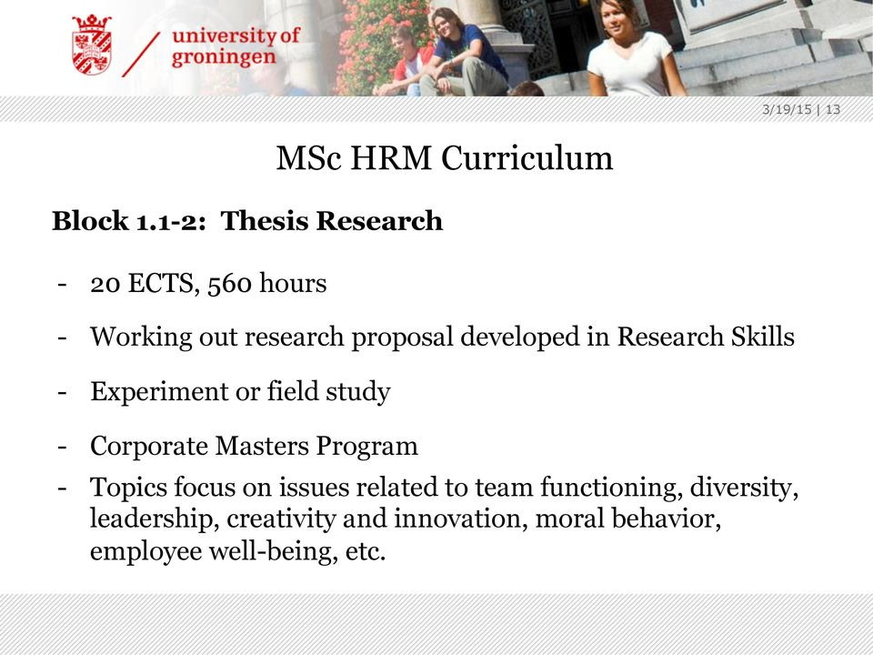 proposal developed in Research Skills - Experiment or field study - Corporate Masters