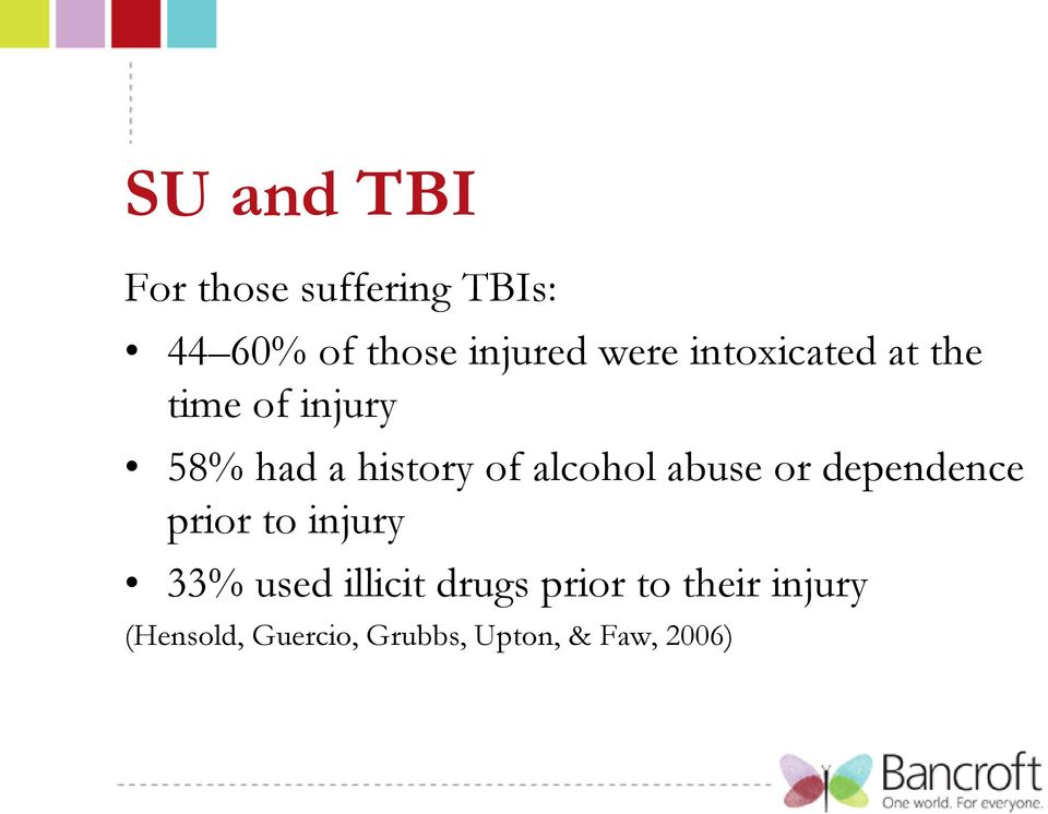 alcohol abuse or dependence prior to injury 33% used illicit