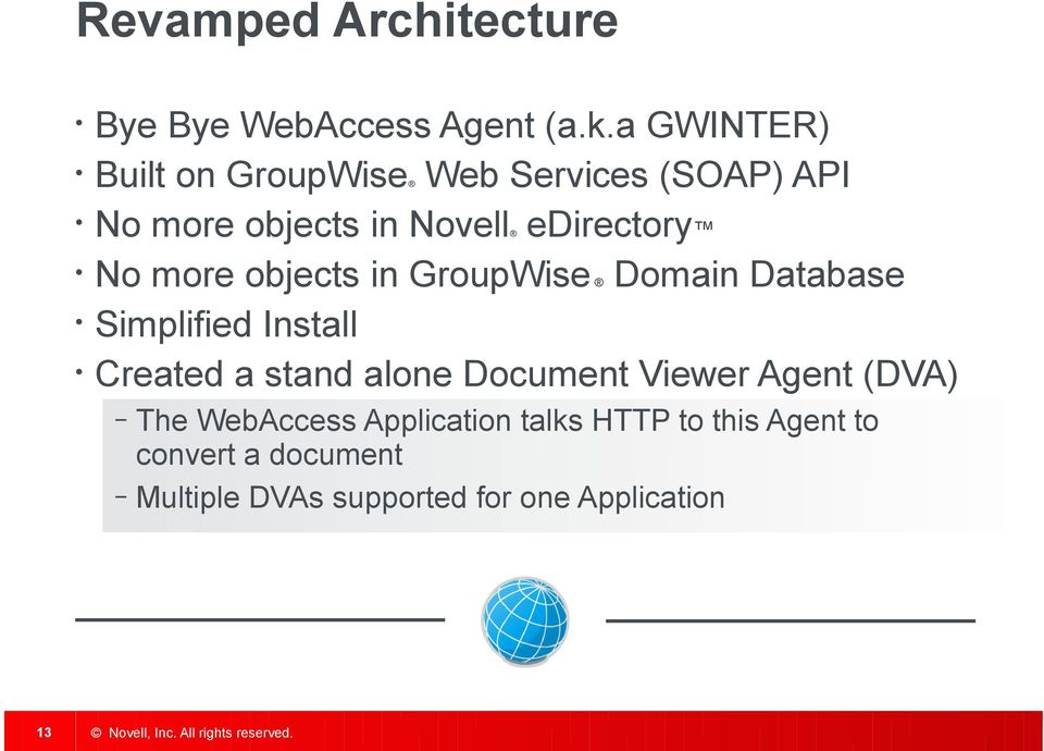 more objects in GroupWise Domain Database Simplified Install Created a stand alone Document