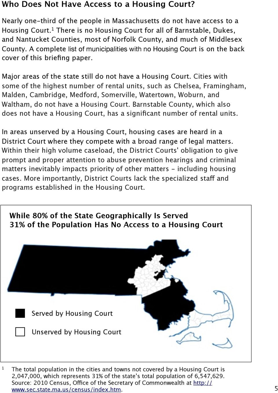 A complete list of municipalities with no Housing Court is on the back cover of this briefing paper. Major areas of the state still do not have a Housing Court.