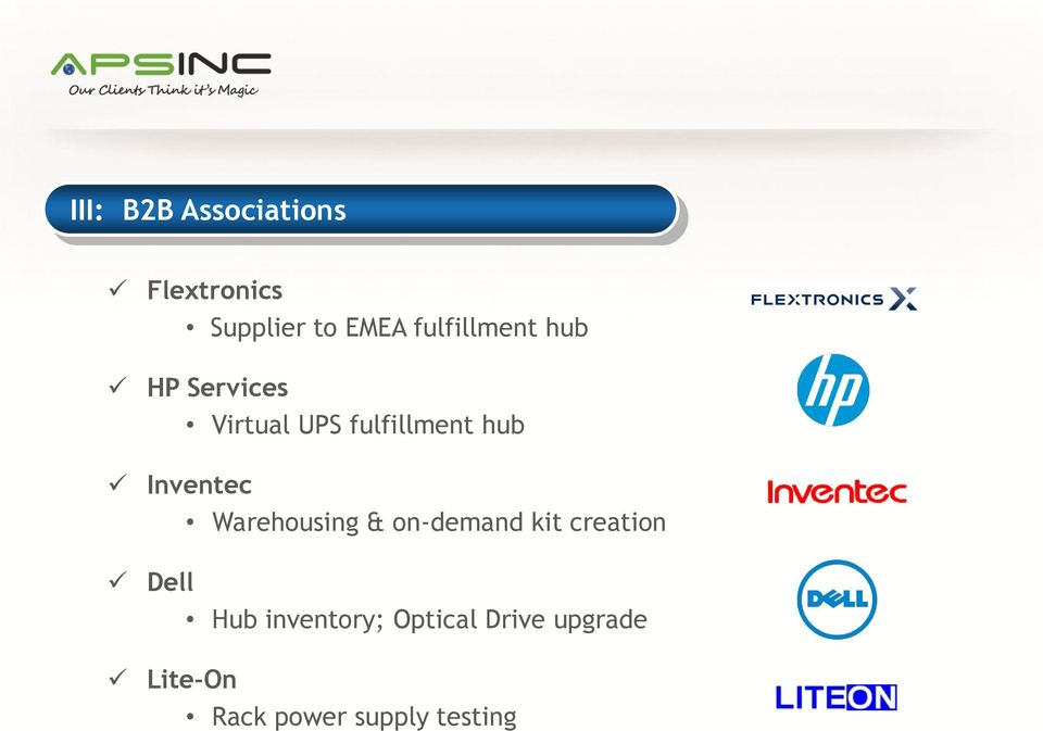 Inventec Warehousing & on-demand kit creation Dell Hub
