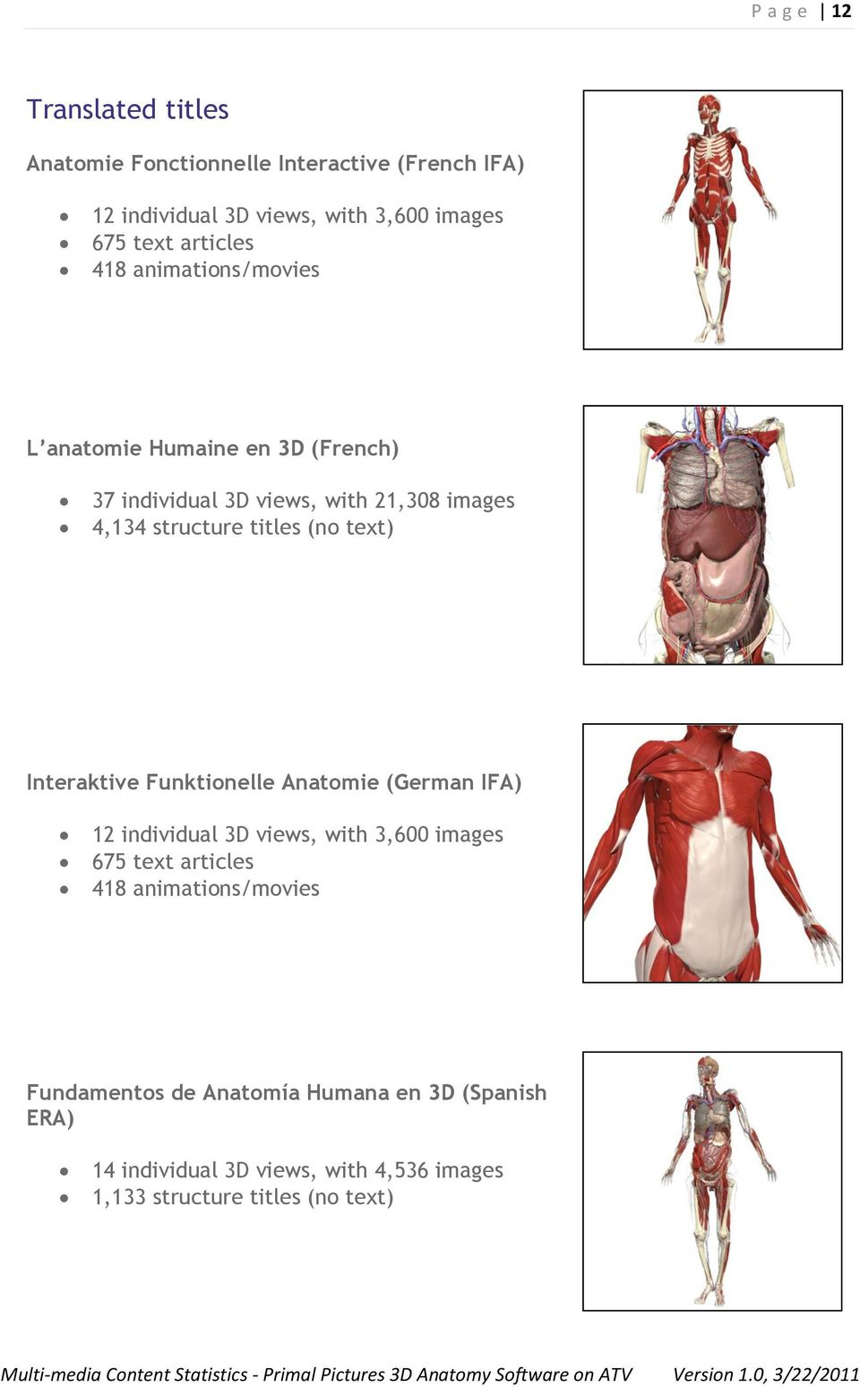 (no text) Interaktive Funktionelle Anatomie (German IFA) 12 individual 3D views, with 3,600 images 675 text articles 418