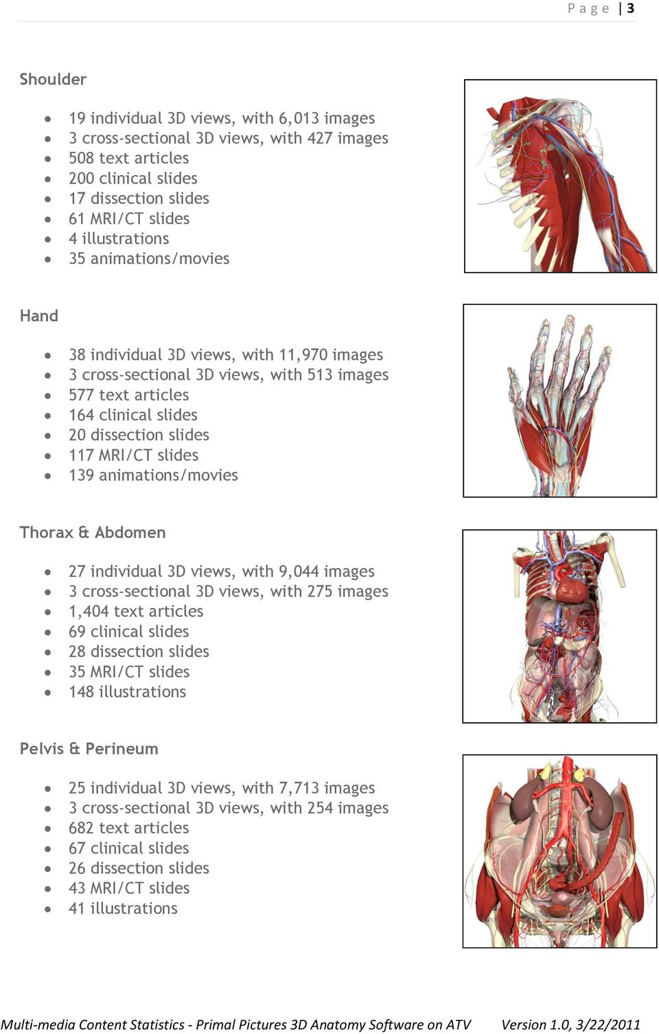 animations/movies Thorax & Abdomen 27 individual 3D views, with 9,044 images 3 cross-sectional 3D views, with 275 images 1,404 text articles 69 clinical slides 28 dissection slides 35 MRI/CT slides