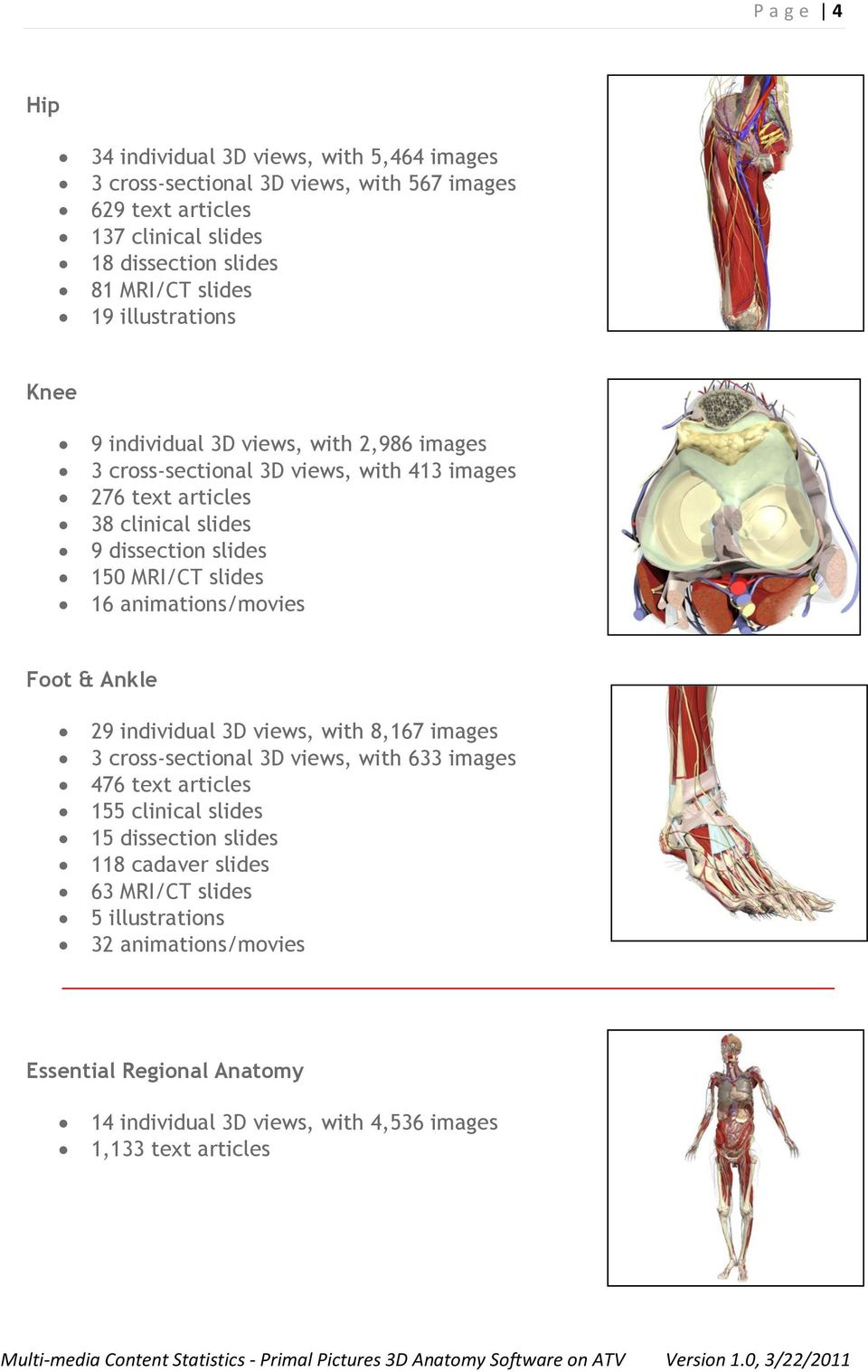 MRI/CT slides 16 animations/movies Foot & Ankle 29 individual 3D views, with 8,167 images 3 cross-sectional 3D views, with 633 images 476 text articles 155 clinical slides 15