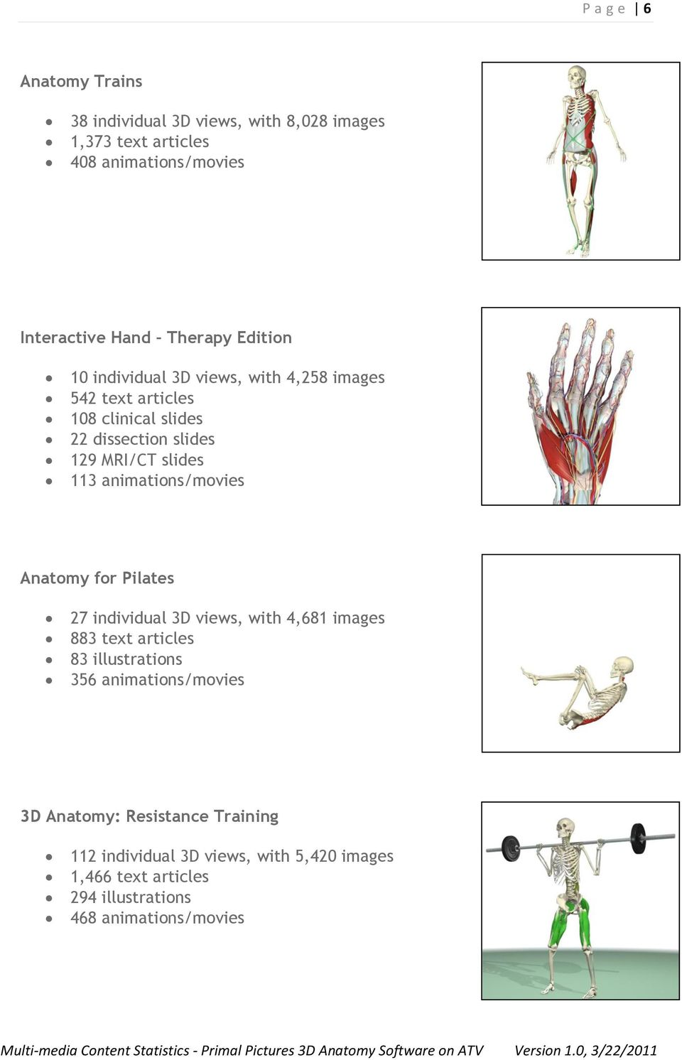 animations/movies Anatomy for Pilates 27 individual 3D views, with 4,681 images 883 text articles 83 illustrations 356
