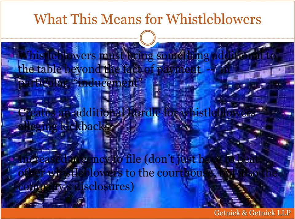 additional hurdle for whistleblowers alleging kickbacks Increased urgency to file