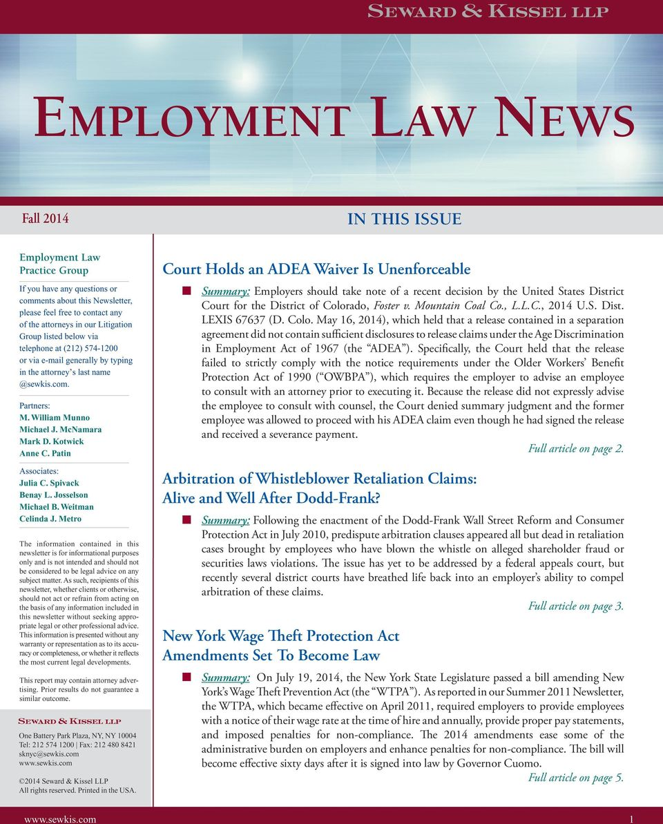 May 16, 2014), which held that a release contained in a separation agreement did not contain sufficient disclosures to release claims under the Age Discrimination in Employment Act of 1967 (the ADEA