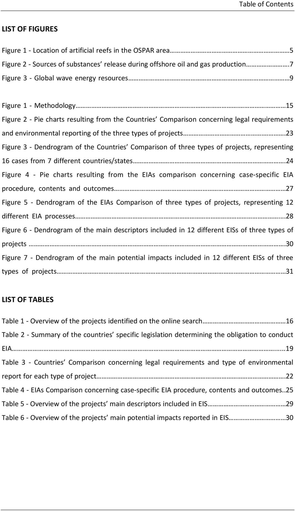 15 Figure 2 - Pie charts resulting from the Countries Comparison concerning legal requirements and environmental reporting of the three types of projects.