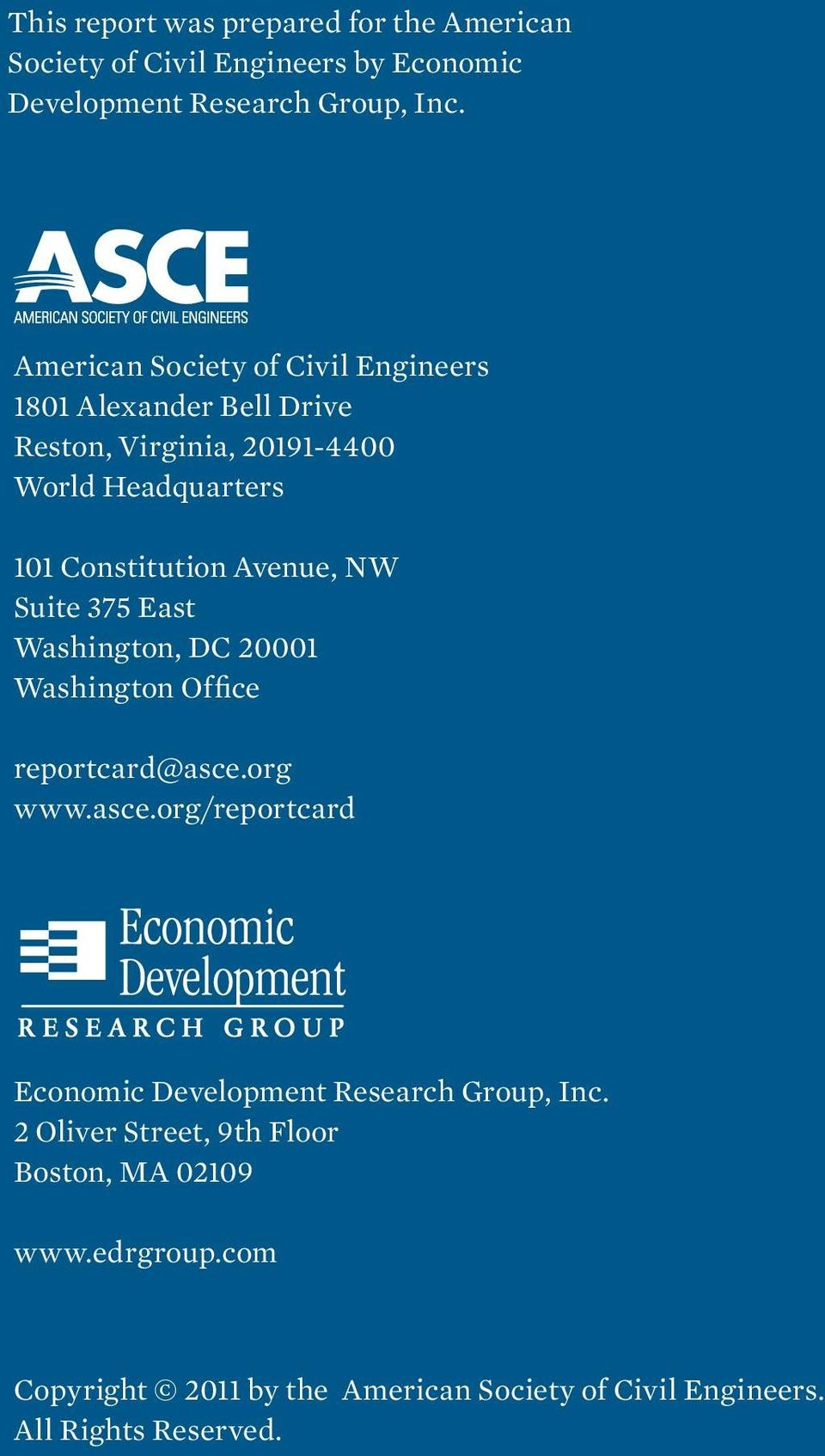 Avenue, NW Suite 375 East Washington, DC 20001 Washington Office reportcard@asce.