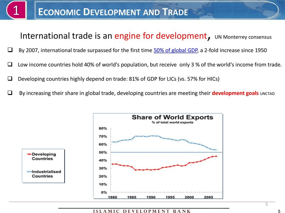 receive only 3 % of the world's income from trade. Developing countries highly depend on trade: 81% of GDP for LICs (vs.