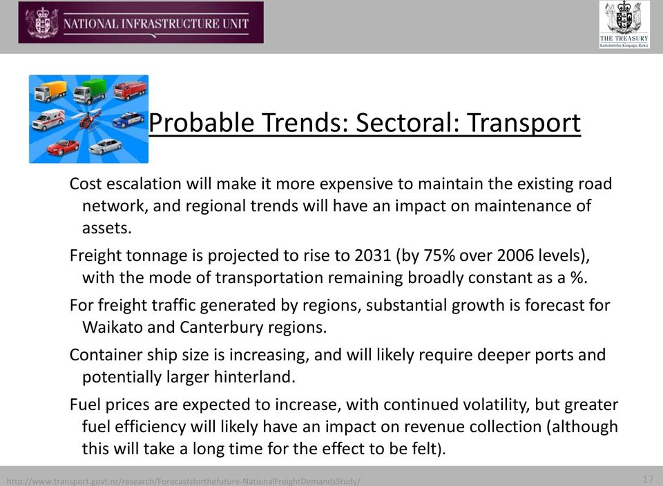 For freight traffic generated by regions, substantial growth is forecast for Waikato and Canterbury regions.