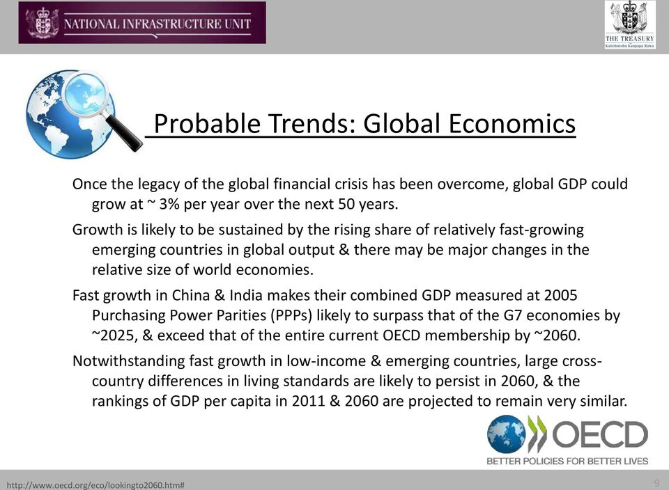 Fast growth in China & India makes their combined GDP measured at 2005 Purchasing Power Parities (PPPs) likely to surpass that of the G7 economies by ~2025, & exceed that of the entire current OECD