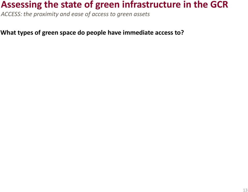 of access to green assets What types of