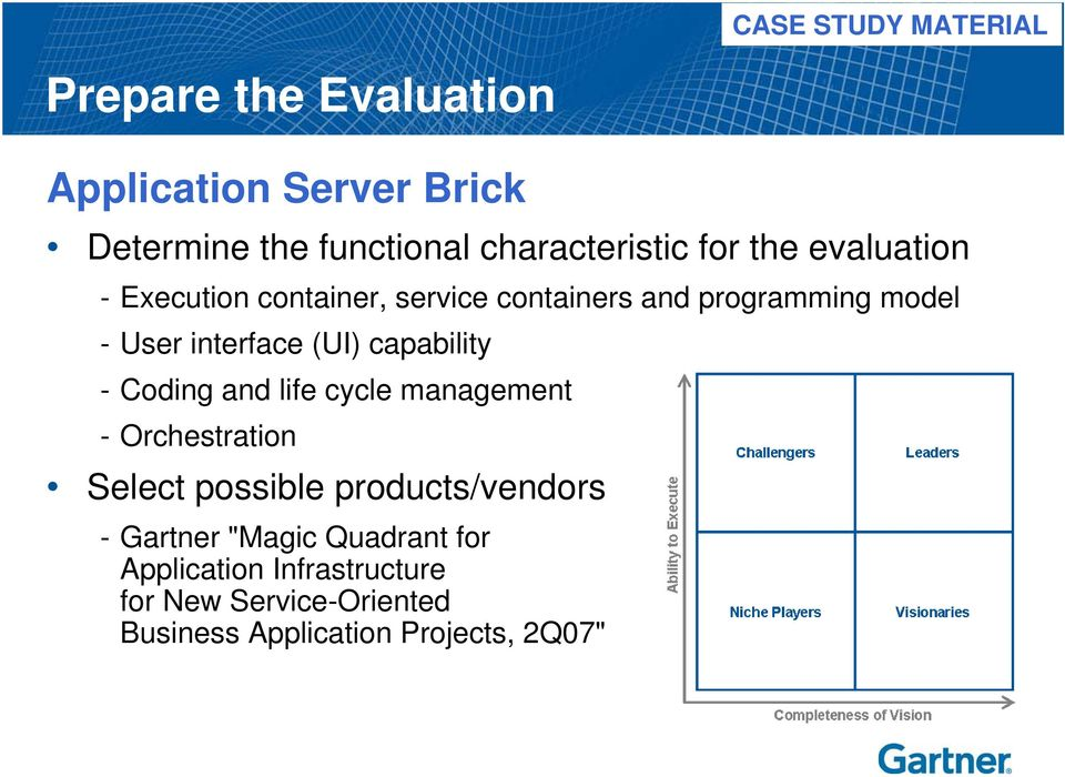 capability - Coding and life cycle management - Orchestration Select possible products/vendors - Gartner