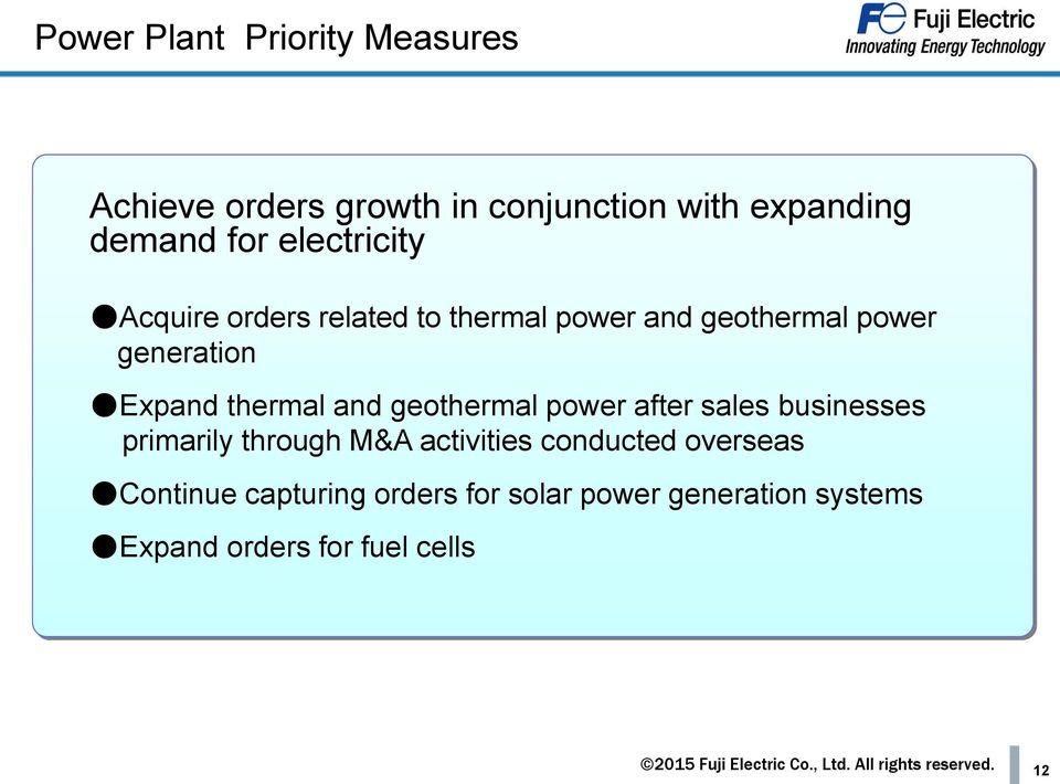 thermal and geothermal power after sales businesses primarily through M&A activities conducted