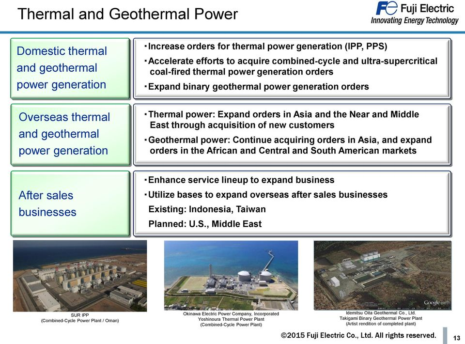 and the Near and Middle East through acquisition of new customers Geothermal power: Continue acquiring orders in Asia, and expand orders in the African and Central and South American markets After