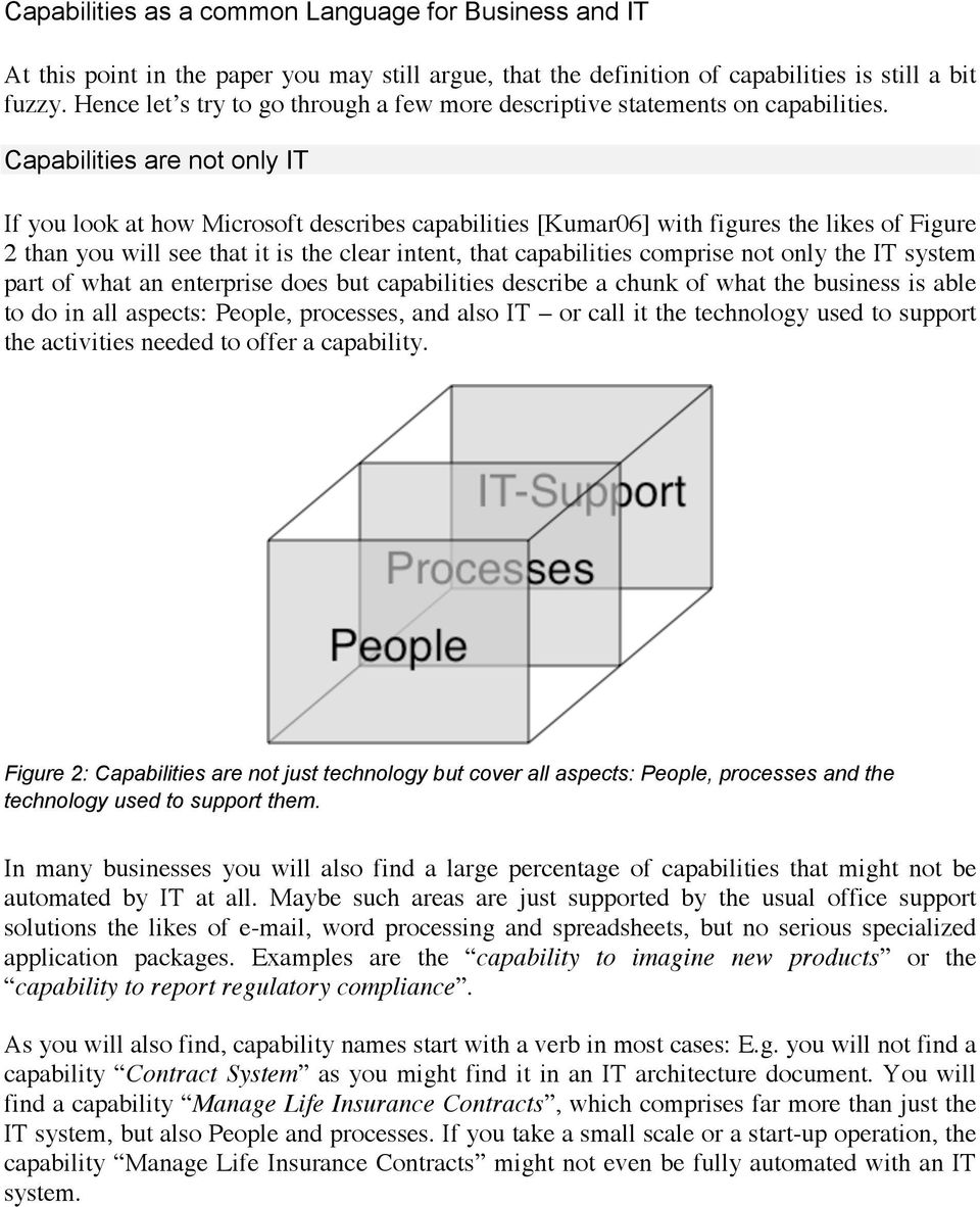 Capabilities are not only IT If you look at how Microsoft describes capabilities [Kumar06] with figures the likes of Figure 2 than you will see that it is the clear intent, that capabilities comprise