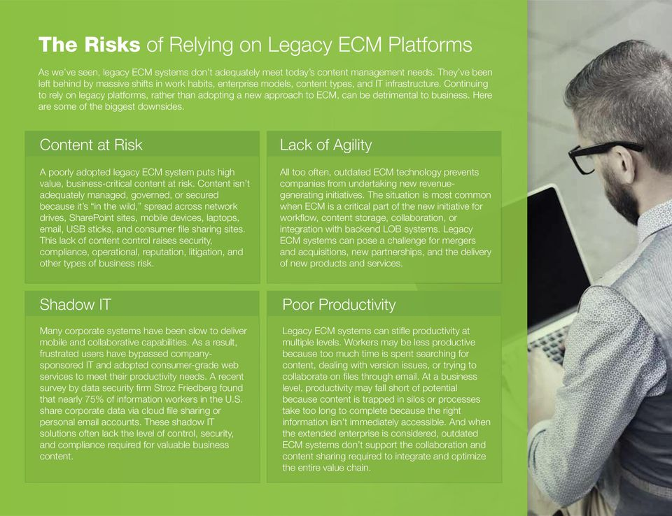 Continuing to rely on legacy platforms, rather than adopting a new approach to ECM, can be detrimental to business. Here are some of the biggest downsides.