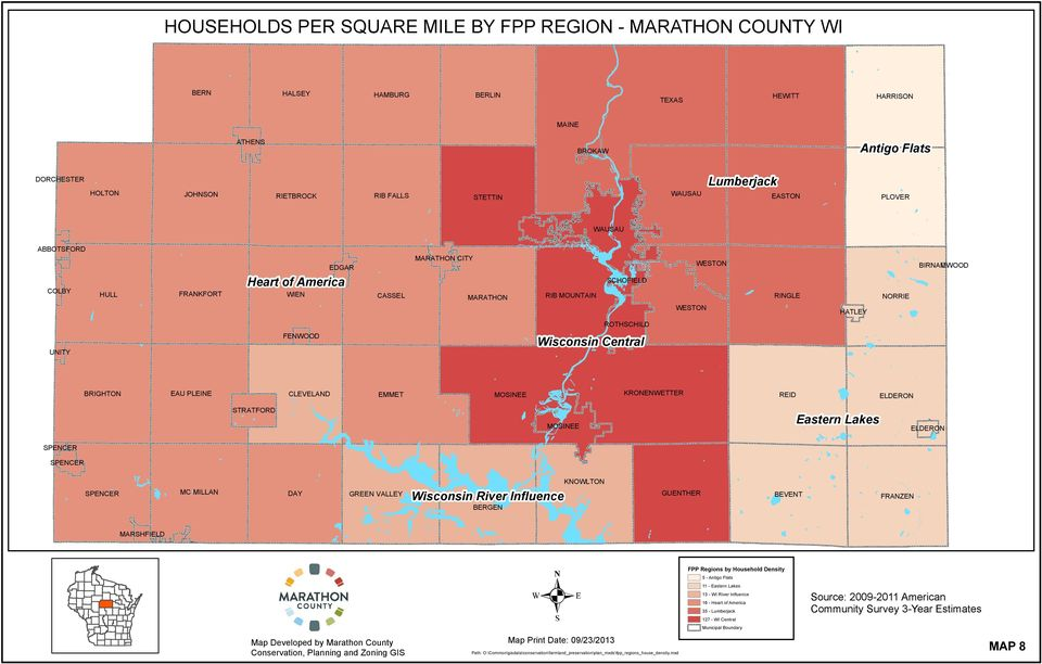 KREWETTER REID ELDER STRATRD MSIEE Eastern Lakes ELDER SPEER SPEER Wisconsin River Influence SPEER M MILLA DA GREE VALLE GUETHER BERGE KWLT BEVET RAZE MARSHIELD PP Regions by Household Density 5 -