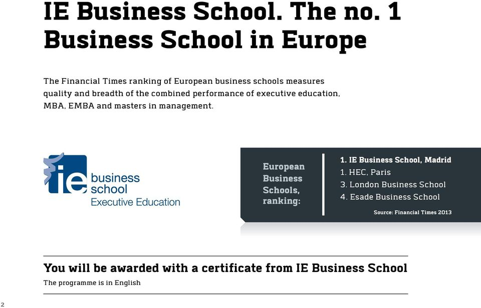 combined performance of executive education, MBA, EMBA and masters in management. European Business Schools, ranking: 1.