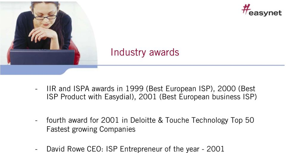 ISP) - fourth award for 2001 in Deloitte & Touche Technology Top 50