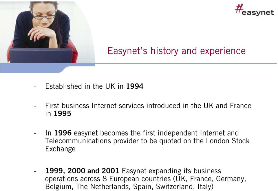 Telecommunications provider to be quoted on the London Stock Exchange - 1999, 2000 and 2001 Easynet expanding