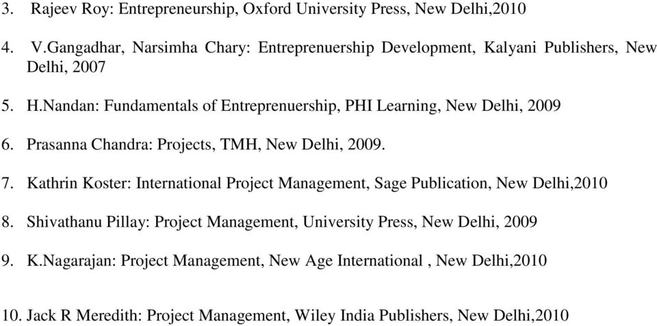 Nandan: Fundamentals of Entreprenuership, PHI Learning, New Delhi, 2009 6. Prasanna Chandra: Projects, TMH, New Delhi, 2009. 7.