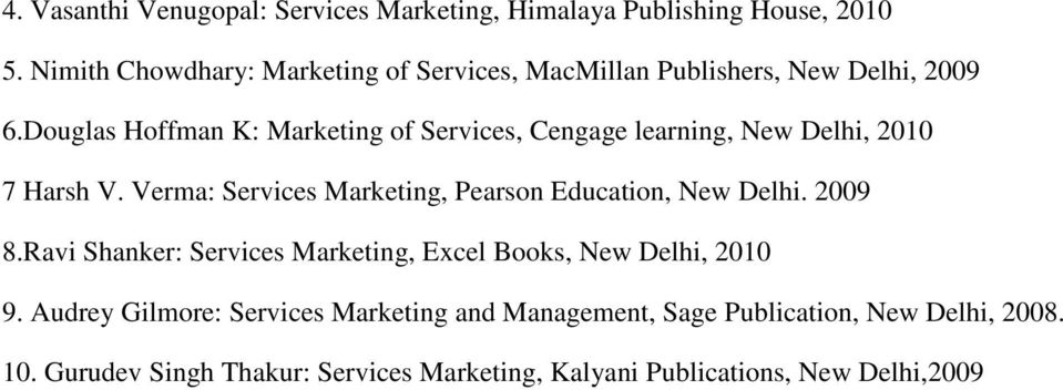 Douglas Hoffman K: Marketing of Services, Cengage learning, New Delhi, 2010 7 Harsh V.