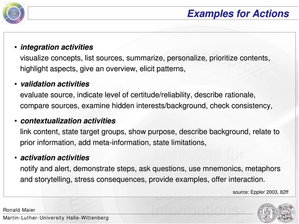 consistency, contextualization activities link content, state target groups, show purpose, describe background, relate to prior information, add meta-information, state limitations,