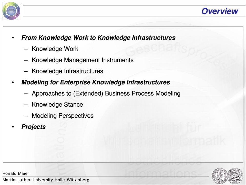 Modeling for Enterprise Knowledge Infrastructures Approaches to