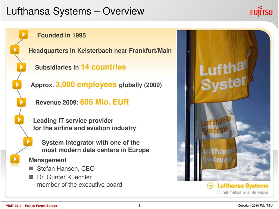 EUR Leading IT service provider for the airline and aviation industry System integrator with one of the