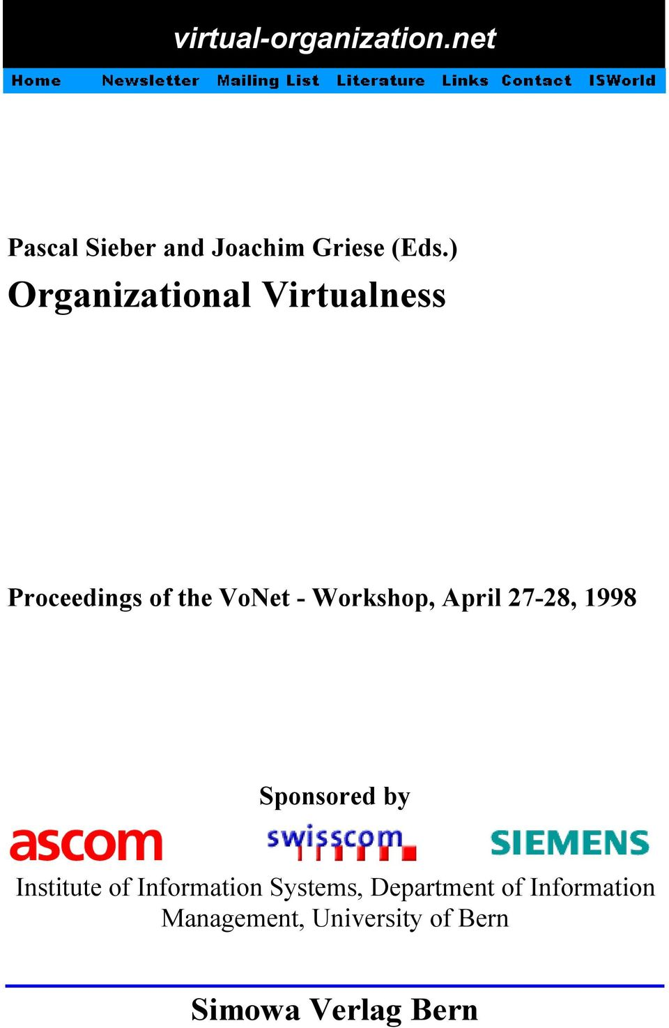 April 27-28, 1998 Sponsored by Institute of Information Systems,