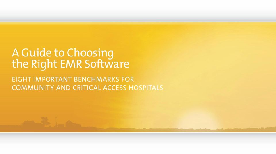 Benchmarks for Community and Critical Access Hospitals
